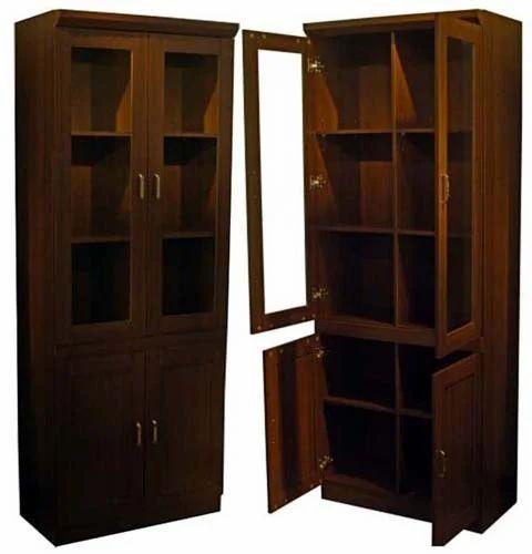 Glass Door Wooden Book Shelf