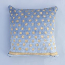 Polka Dot Gold Printed Cushion Cover 18x18 Handloom Cotton Mud Cloth Boho Bed Pillow Sofa Throw