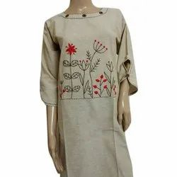 3/4th Sleeve Casual Wear Embroidered Long Cotton Kurti, Size: S-XL, Machine wash
