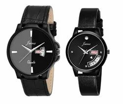 Jainx Black Day and Date Function Analog Watch for Couple - JC483