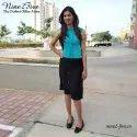 Plain Sleeveless Nine2five Turquoise Silk Pleated Top, Size: Medium