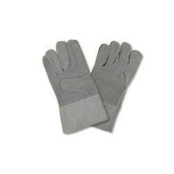 Full Finger Unisex Leather Hand Gloves for Safety, Size: Medium