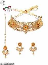 Priyaasi Gold Plated Stone Studded Multicolour Floral Jewellery Set