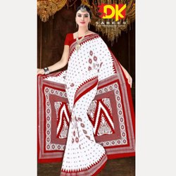 Party Wear Printed White Booty Saree, 5.5 m (Separate Blouse Piece)