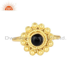 Flower Design Gold Plated Silver Black Onyx Gemstone Rings