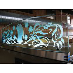 Sand Carved Floral Panel Glass