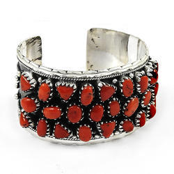 925 Sterling Silver Handmade Cuff Bangle With Italian Coral