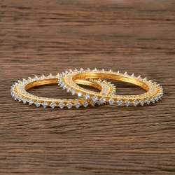 Cz Classic Two Tone Plated Bangles 406008