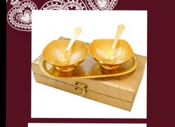 Anniversary Gift Gold Plated Brass Bowl Set