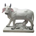 White Marble Cow And Calf Statue