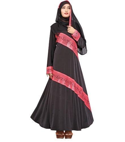 d06d51cf7249 Black Lycra Arabic Islamic Wear Abaya Burkha With Chiffon Hijab Scarf