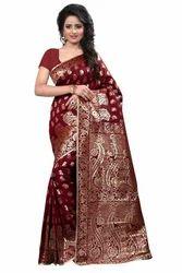 753ed6f35b Silk Beautiful Design Maroon Printed Banarasi Sarees, Rs 1049 /piece ...