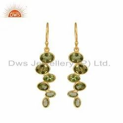 Designer Gold Plated 925 Silver Shiny Peridot Gemstone Dangle Hook Earrings