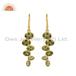 Designer Gold Plated 925 Silver Peridot Gemstone Earrings