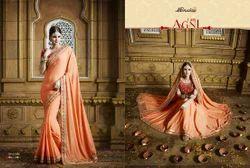 Peach Silk Exclusive Wedding Party Wear Sarees