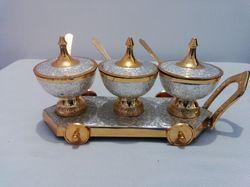 Brass Enamel Sugar Pot With Cart 3 Pc