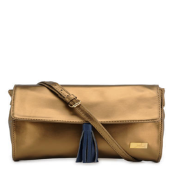Golden Synthetic Leather Sling Bag