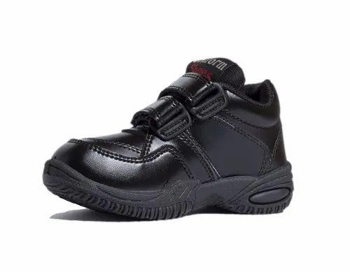 Black Kids Velcro School Shoes
