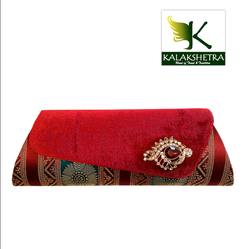A Combination Of Velvet And Silk Clutch