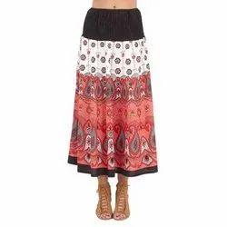 Cotton Long Ladies Printed Skirt