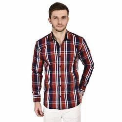 Men Red Check Shirt