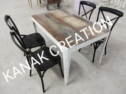 Kanak Creation Dining Set Of Four Cross Back Chair With Industrial Table