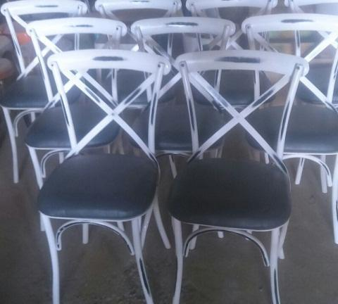 Wood Fabric Standard Distressed Vintage Antique Metal Dining Chairs