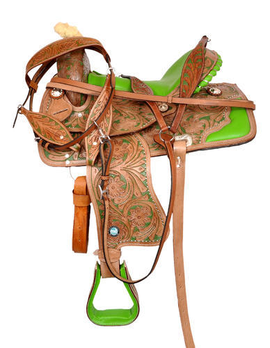 Premium Leather Western Horse Saddle Barrel Racing Tack Matching Leather  Headstall, Breast Collar