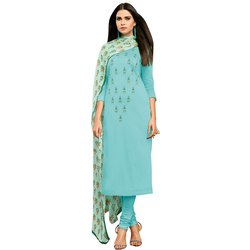 Rajnandini Sky Blue Chanderi Silk Embroidered Semi-Stitched Dress Material With Printed Dupatta