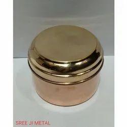Plain Golden Copper Tiffin Box