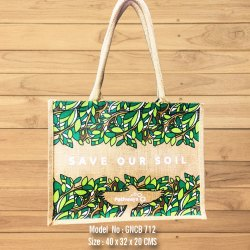 Jute Bag With Floral Print