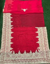 Red Georgette Bridal Wear Saree with Blouse
