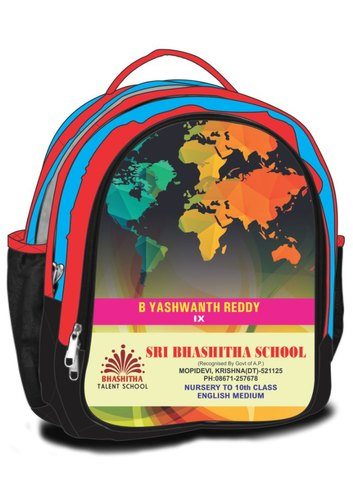 Polyester Multicolor Printed Kids School Bags, For Schools And Colleges, Capacity: 10-25 ltr