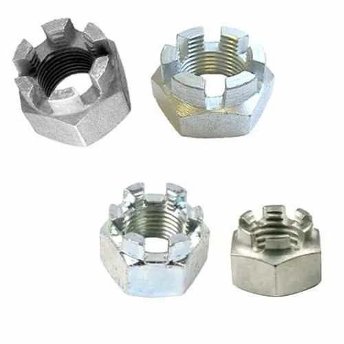 Hex Mild Steel Crown Nuts