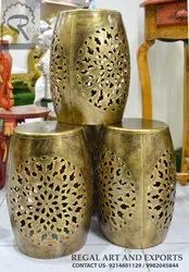 REGAL ANTIQUE GOLD Jalli Dhol Stools, For Home, Size: Height-17- Width-10(top)