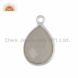 925 Sterling Fine Silver Rainbow Moonstone Charm Finding Jewelry