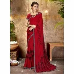 Cotton Party Wear Ladies Designer Georgette Saree, Length: 5.5 m (separate blouse piece)