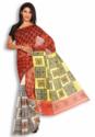 Red Yellow And White Silk Kantha Saree
