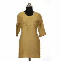 Aries Production 3/4th Sleeve Ladies Party Wear Cotton Kurti