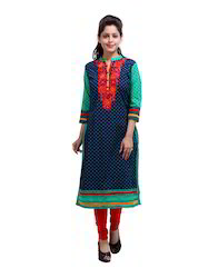 Women Floral Embroidered Blue and Red Cotton Kurti