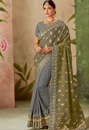 bc55d55bb1 Grey Silk Embroidery Saree With Raw Silk Blouse - 13115 at Rs 3780 ...