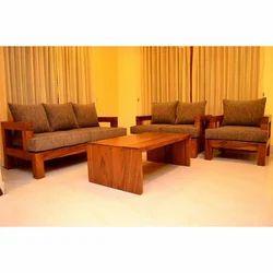 Plain Wood Comfort Sofa Set