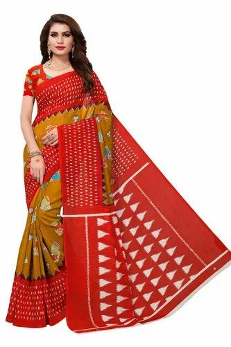 Silk Casual Fancy Bhagalpuri Saree, Length: 6.3 m with blouse piece