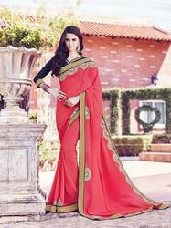 Fancy Georgette Pink Saree