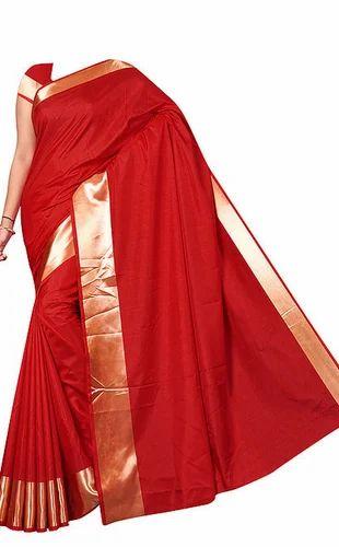 ca1bea582e Plain Red Sana Silk Saree With Golden Border at Rs 589 /piece | Pure ...