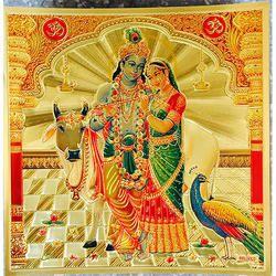 Radha Krishna Poster in Gold Foil 24K