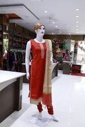 Party Wear Orange Sleeveless Readymade Churidar Suit