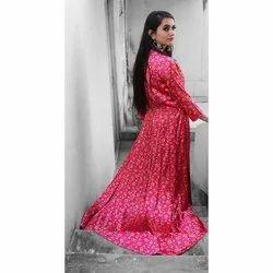 Ladies Printed Pink Gown