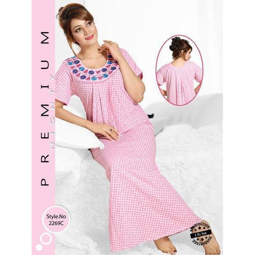 50496664ad Cotton Women    s Half Sleeve Printed Full Length Nighty
