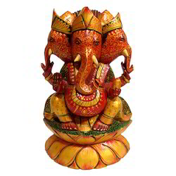 Hand Made Wooden Three Face Kamal Ganesha Statue
